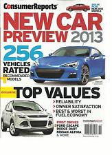 CONSUMER REPORTS, NEW CAR PREVIEW 2013,  ( 256 VEHICLES RATED RECOMMENDED MODELS