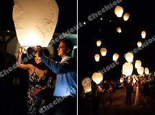 100x White Paper Chinese Lanterns Sky Fly Candle Lamp for Wishing Party Wedding