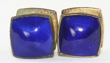 VTG ANTIQUE KUM A PART BRAND ROYAL BLUE ENAMEL SNAP LINK CUFFLINKS CUFF LINKS