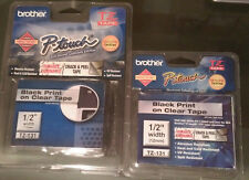 2 Brother P-Touch TZ-131 1/2 width Black Print / Clear Tapes Two Pack TZe-131
