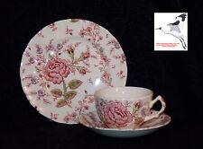 Triotea tasse, soucoupe & plaque Johnson BROS ROSES CHINTZ motif pat.no160783 années 1950