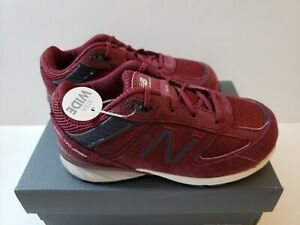 New Balance Infant 990v5 Shoes Size 9 XWide Red with Navy - New