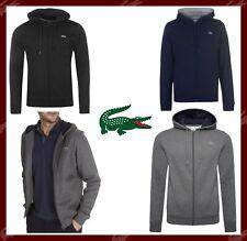 LACOSTE Sports Hoodie Mens Plain Croc Logo Top Hooded Full Zip Jacket S M L XXL