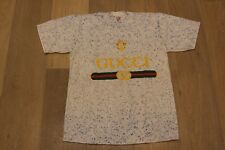 Vintage 90s Gucci Speckle Tee Medium New Old Stock White Grey T-shirt RARE lot