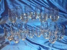 Huge Lot Etched Water / Juice Glasses, 21 Pieces 6-12 oz.