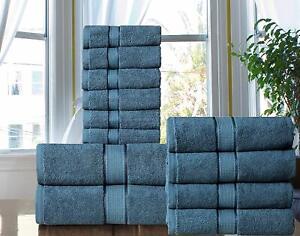 100% Combed Cotton Spa/ Hotel Quality 600 GSM Bathroom 12 Piece Towel Set -NAVY