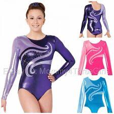 NEW 2 Tone Bright Foil Mystique L/S Gymnastics Competition Leotard Rhinestones