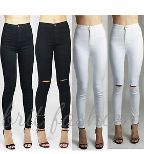 Womens Ladies High Waisted Mid Rise Knee RIpped Skinny Tube Jeans Trouser Lot L4