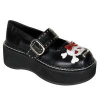Demonia Emily 221 Goth Punk Lolita Mary Jane Black Shoes Bow Skull Heart