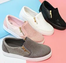 SALE! New Womens Ladies Slip On Studded Trainer Flat Zip Work Casual Gym Shoes