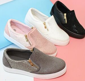 SALE! New Womens Ladies Slip On Studded Trainers Flat Zip Work Casual Gym Shoes
