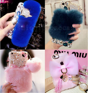 Girl's Luxury Bling Diamond Rhinestone Rabbut Fur Case Cover for LG Stylo 6 V40