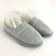 Womens Slippers Clogs Ribbed Faux Fur Lined Gray Ivory Slip On Size 7