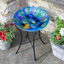 Smart Garden Decorative Hand Painted Hummingbird Design Glass Birdbath on Stand