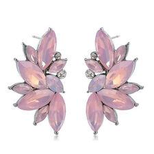 1 Pair Pink Crystal Rhinestone Drop Dangle Ear Studs Earrings Women Lady Jewelry