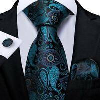 Teal Blue Black Paisley Silk Tie Set Mens Necktie Handkerchief Cufflinks Wedding