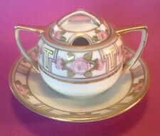 Nippon RC Noritake Mustard Pot With Attached Saucer - Hand Painted Gold Beading