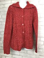 LL Bean Women's Button Up Heathered Red Cardigan Sweater Wool Blend Size Medium