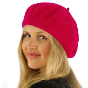 Classic Winter 100% Wool Warm French Art Basque Beret Tam Beanie Hat Cap H. Pink