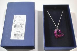 New With Box Swarovski Loveheart Pendant Fushia Pink Necklace - 1087208