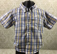 Baby Gap 2T Blue White Yellow Plaid Short Sleeve 100% Cotton Button Down Shirt