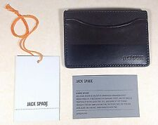Authentic Jack Spade Mens Leather Card Holder Wallet Chocolate Dipped Black $78