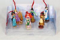 Disney Princess Christmas Ornaments Figure 6pc Set Ariel Tiana Mulan Belle New