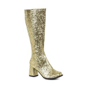 "Womens gold glitter 3"" gogo costume boots"