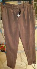 Nuevo CON ETIQUETAS SIGUIENTE Marrón de Algodón De Pierna Recta Pantalones Tamaño 10