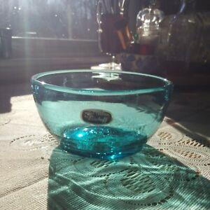 Vintage Aqua Blue Bischoff Blenko Art Glass Bowl With Label