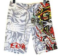 Bnwt Authentic Men's Ed Hardy Board Swim Surf Shorts Burning Tiger New White