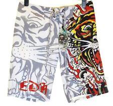 Bnwt Authentic Men's Ed Hardy Board Swim Surf Shorts Burning Tiger New White