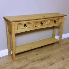 CORONA Console Table 3 Drawer With Shelf Waxed Pine Hallway by Mercers Furniture