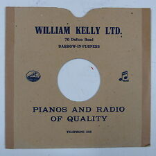 """78 rpm 10"""" card gramophone record sleeve/ cover WILLIAM KELLY , BARROW"""