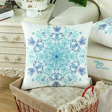 CaliTime Pretty Florals Cushion Covers Pillows Shells Home Sofa Decor 50cmx50cm Teal/blue Color