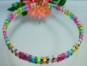 Halskette Würfelkette cube multicolor rot grün blau gelb türkis pink AB 141a