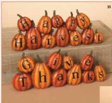 Gerson Fall Decor - Give Thanks & Happy Harvest Pumpkin Display 2pc Set