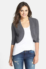 NWT Halogen Wool/Cashmere Charcoal 3/4 Sleeve Open Front Shrug Cardigan Size M