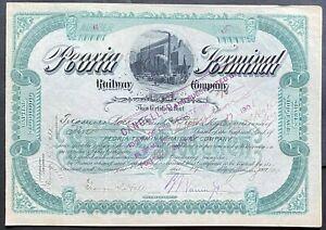 PEORIA TERMINAL RAILWAY Stock 1901. IL. Central Illinois River Short Line.  VF++