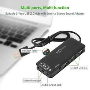 3 Port USB 2.0 Hub with External 7.1 Channel USB Sound Card 2 In One 0180