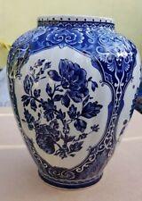 Dutch Delft Blue White Ginger Jar Urn Vase by Boch Royal Sphinx Holland