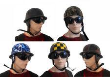 Mens Biker Helmet & Goggles Steampunk Hat Motorcycle Halloween Fancy Dress NEW