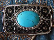 NUOVO Colore Turchese Cintura Fibbia in Metallo Argento/Nero, Western, Cowboy, Goth