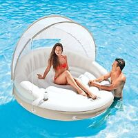 Inflatable Floating Lounge Island Canopy Shade Water Float Raft Chair Pool Lake