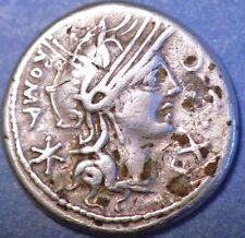 116-115 AD,Roman Republic. Sergius Silus  Denarius , Silver Denier.