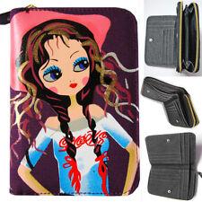 Porte monnaie portefeuille jean violet rose manga jeune fille tresses cowgirl