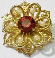broche bijou vintage déco fleur couleur or cristal perle blanche * 5187