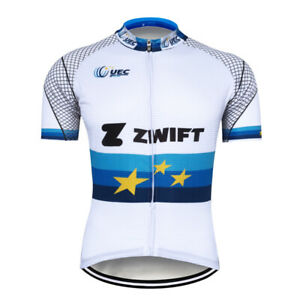Men's White Cycling Team Jersey Bike Riding Maillots S~4XL Shirt Outfits Pockets