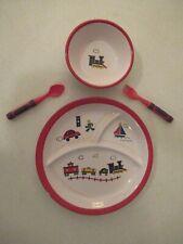 Vintage Child'S Melamine Dinnerware Plate & Bowl Set Car Boat Train