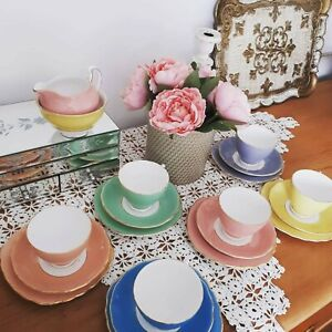 Harlequin Vintage Bone China Tea Set Pastel ❤️